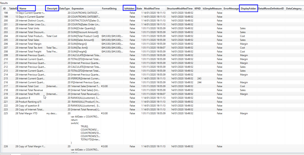 dmv query in tabular model